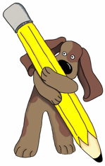 Brown Dog with a pencil